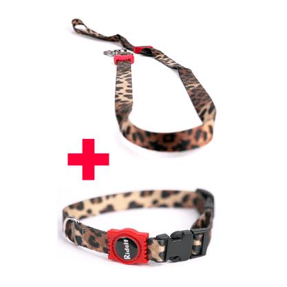 Coleira com Guia para Cachorros e Gatos Modelo Poly Jaguar